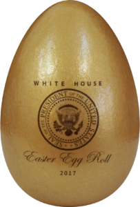 gold wooden egg used in white house easter egg roll